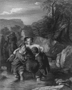 PORTRAITS: Crossing the ford, antique print, c1870